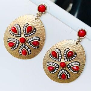 Hammered Metal Red Beads Drop Dangle Earrings
